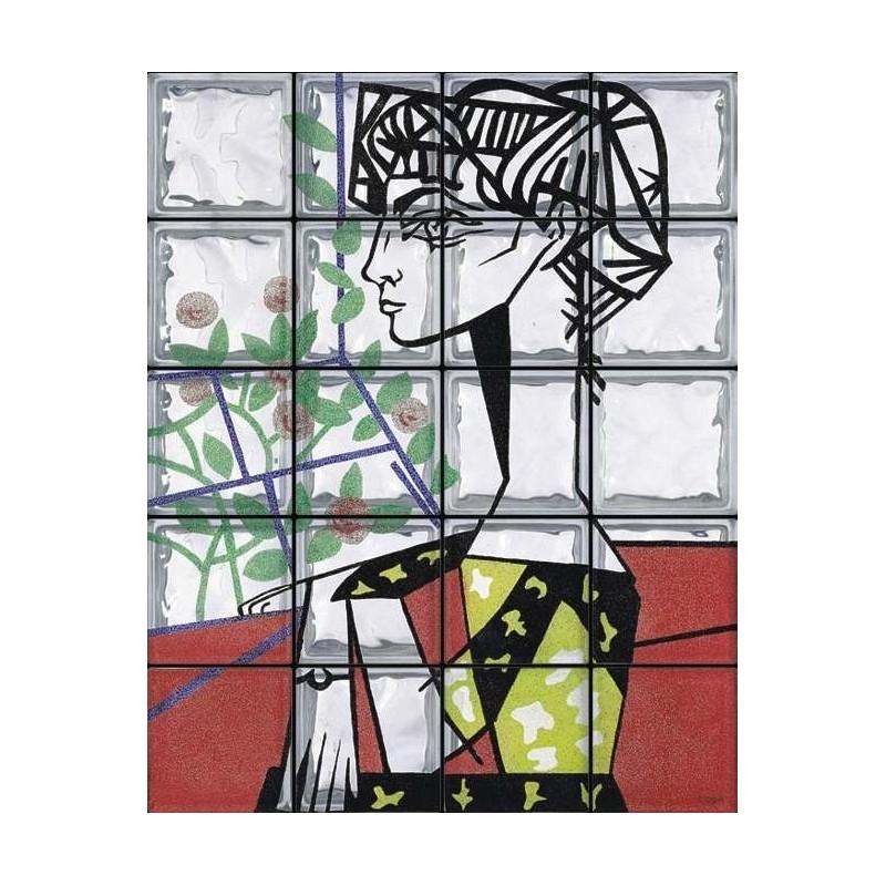 "Composición de 20 bloques de vidrio Omaggio a Picasso ""Ritratto a Jacqueline Roque"""