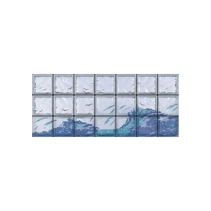 Composición de 21 bloques de vidrio Onde