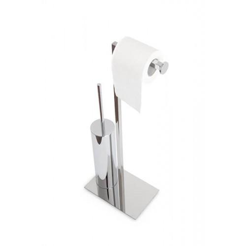 Escobillero redondo de pie con portarrollos Regia Domovari serie Mondrian