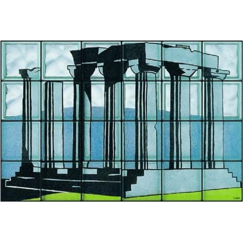 """Composición de 24 bloques de vidrio Omaggio a Lichtenstein """"Tempio di Apollo"""""""