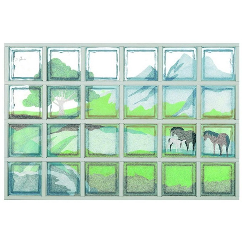 Composición de 24 bloques de vidrio Paesaggio con Cavalli