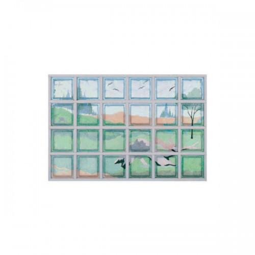 Composición de 24 bloques de vidrio Paesaggio con Coniglio