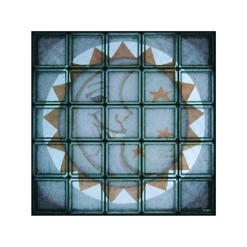 Composición de 25 bloques de vidrio Moon