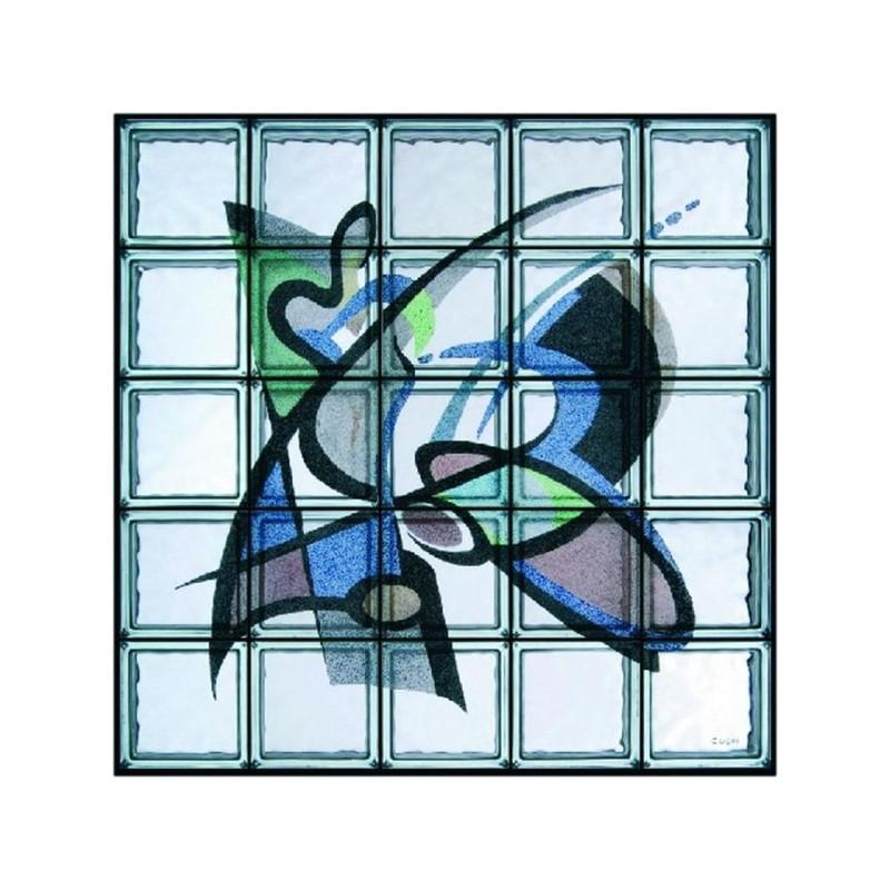 """Composición de 25 bloques de vidrio Omaggio a Gockel """"Frisbee"""""""