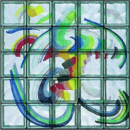 """Composición de 25 bloques de vidrio Omaggio a Kupka """"Torubillon"""""""