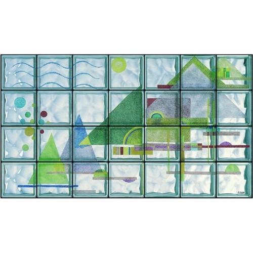 """Composición de 28 bloques de vidrio Omaggio a Kandinsky """"Triagoli in Arco"""""""