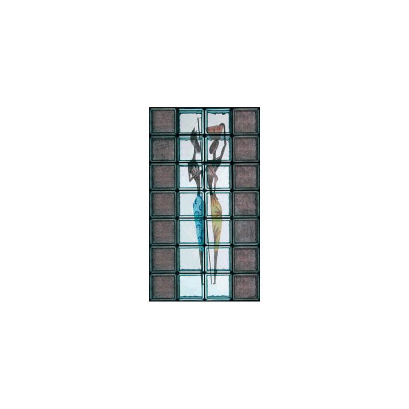 Composición de 28 bloques de vidrio Vita Tribale