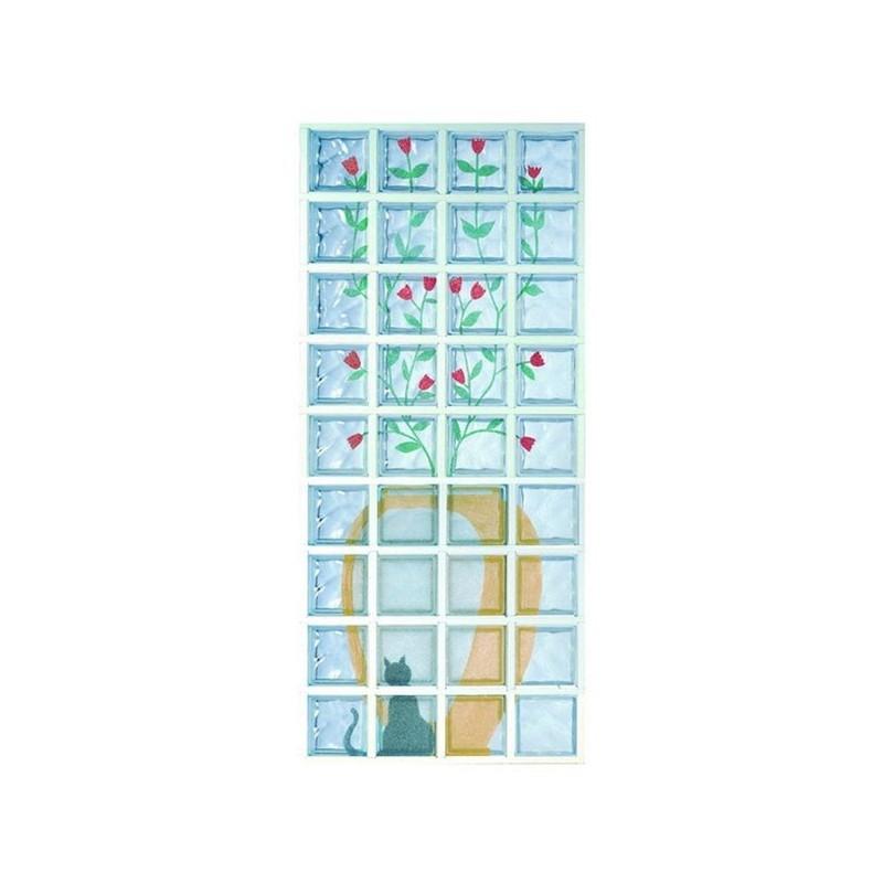 Composición de 36 bloques de vidrio Rose Rosse