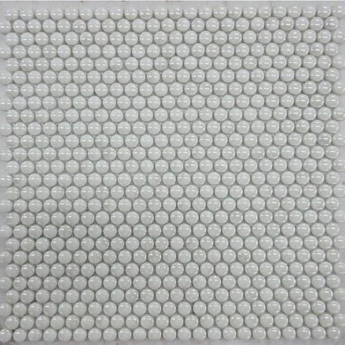 Mosaico Redondo Esmaltado Blanco con Lustre - MALLA