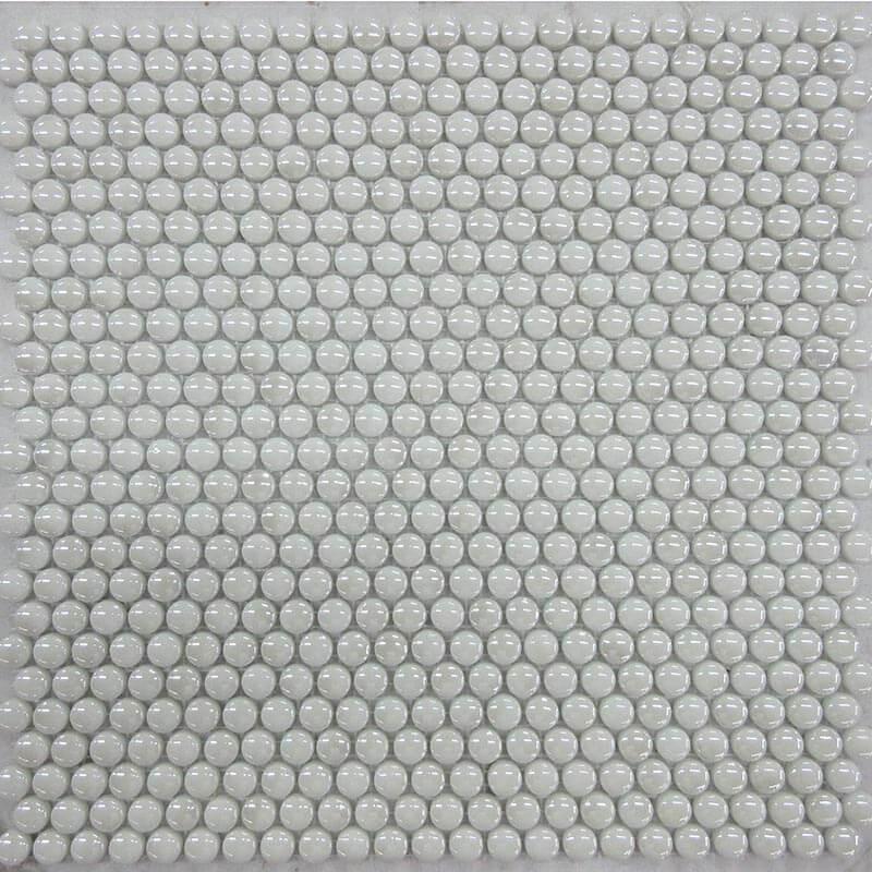 Mosaico Redondo Esmaltado Blanco con Lustre