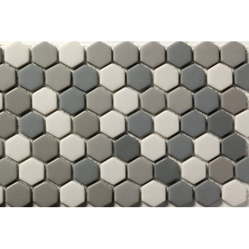 Mosaico Hexagonal Esmaltado Blend 68 - MALLA