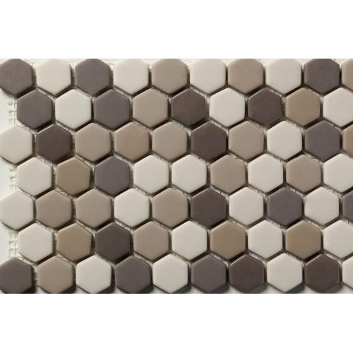 Mosaico Hexagonal Esmaltado Blend 76 - MALLA
