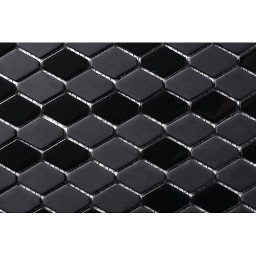 Mosaico Hexagonal Esmaltado Negro - MALLA
