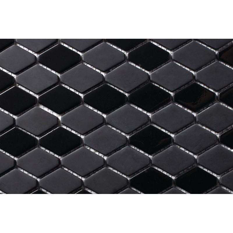 Mosaico Hexagonal Esmaltado Negro