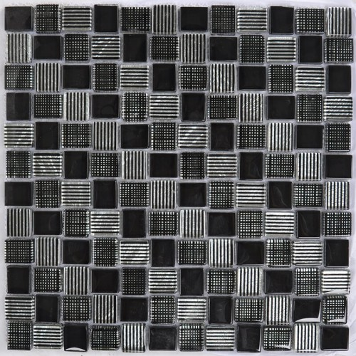 Mosaico Cuadrado Superwhite Glass Painted Black & Silver Leaf
