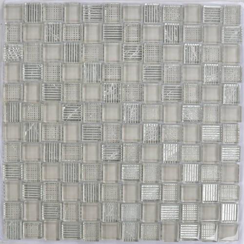 Mosaico Cuadrado Superwhite Glass painted Brown & Silver Leaf - MALLA