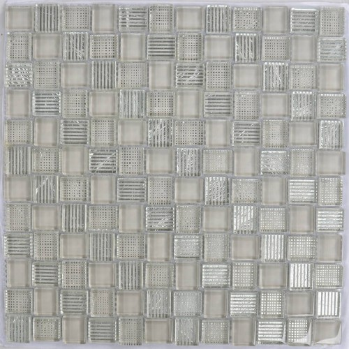 Mosaico Cuadrado Superwhite Glass painted Brown & Silver Leaf - MALLA