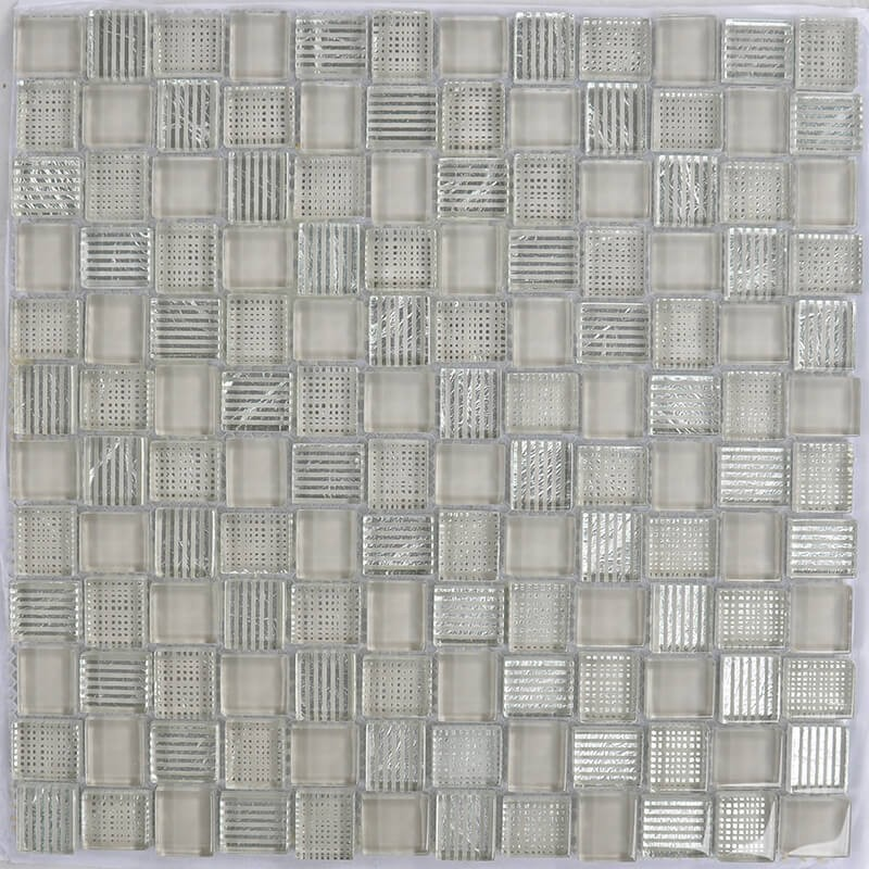 Mosaico Cuadrado Superwhite Glass Painted Brown & Silver Leaf