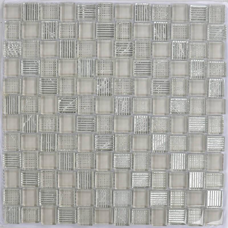 Mosaico Cuadrado Superwhite Glass Painted Brown & Silver Leaf
