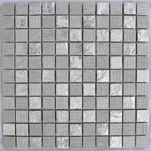 Mosaico Cuadrado Wooden White Marble & Silver Leaf
