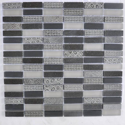 Mosaico Rectangular Blend 4 Engraved Basalt & Glass - MALLA