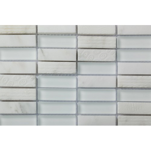Mosaico Rectangular Blend 3 Engraved Carrara & Glass - MALLA