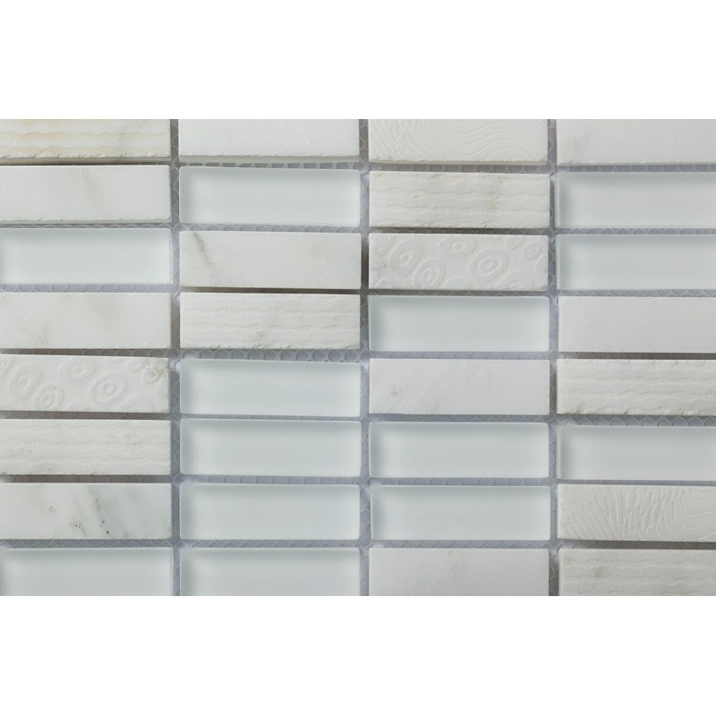 Mosaico Rectangular Blend 3 Engraved Carrara & Glass