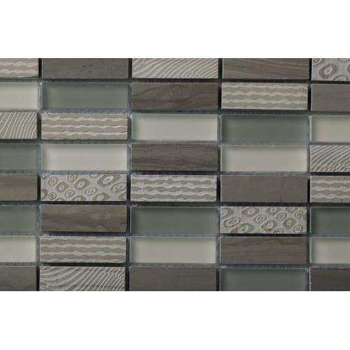 Mosaico Rectangular Blend 2 Engraved Wooden Moca & Glass - MALLA