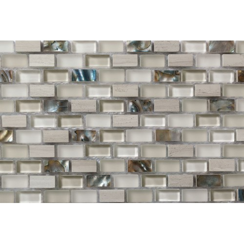 Mosaico Rectangular Wooden White & Glass & Mop C