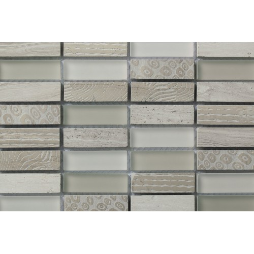 Mosaico Rectangular Blend 1 Engraved Wooden White & Glass