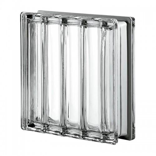 Bloque de vidrio Dórico Líneas Paralelas Metalizado 19x19x8cm