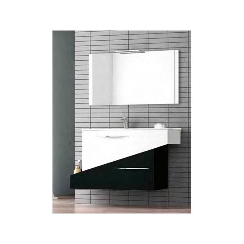 Conjunto mueble de baño 105cm Geometric Blanco Negro
